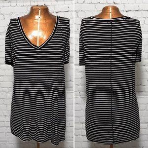 Halogen Striped Modal Jersey V-Neck Tee EUC